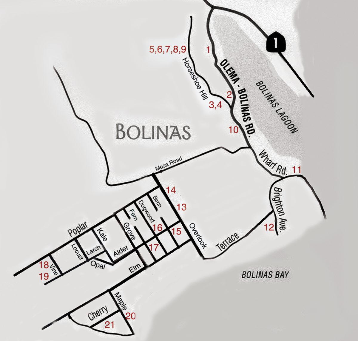 Bolinas Open Studios Map 2017