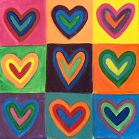 Wine & Canvas: Concentric Hearts