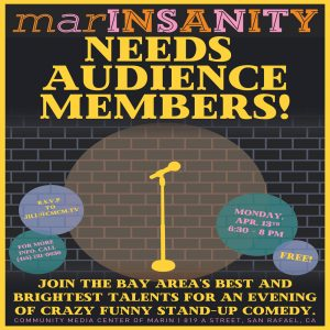 **CANCELLED** Free stand-up comedy at Marin TV